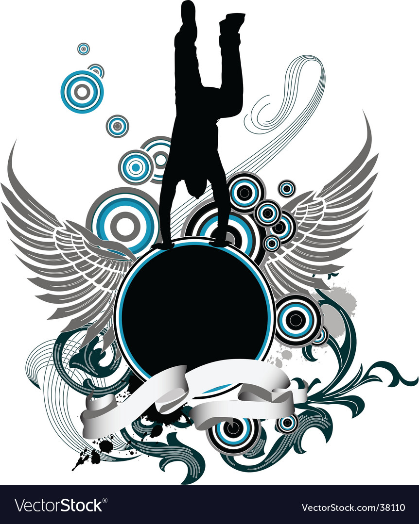 Dancing man and wing banner vector | Price: 1 Credit (USD $1)