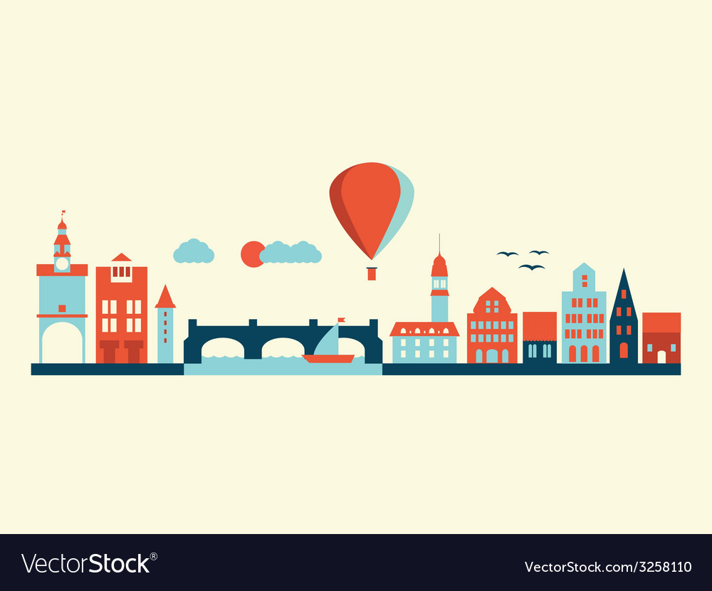 Europe city landscape vector | Price: 1 Credit (USD $1)