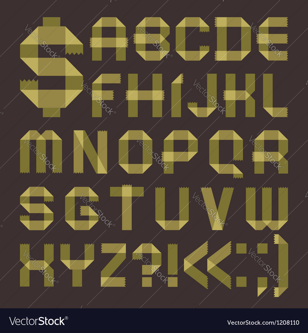 Font from greenish scotch tape - roman alphabet vector | Price: 1 Credit (USD $1)