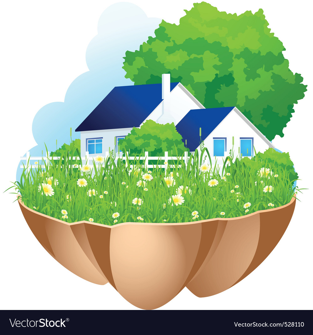 Green home vector | Price: 3 Credit (USD $3)