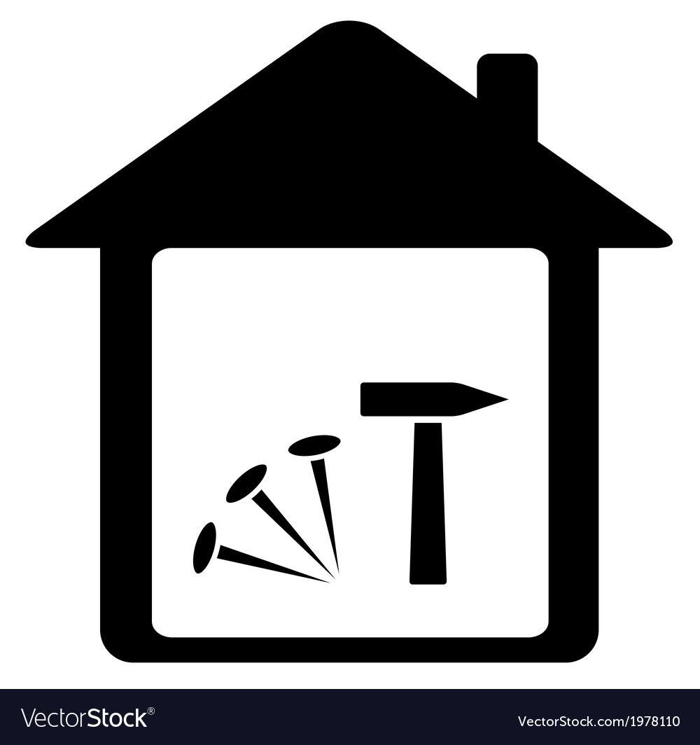 Icon with nails hammer and home vector | Price: 1 Credit (USD $1)