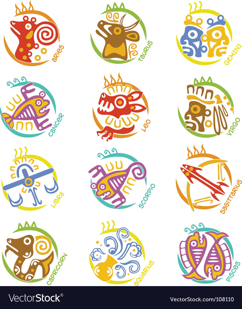 Maya art stylized zodiac signs vector | Price: 1 Credit (USD $1)