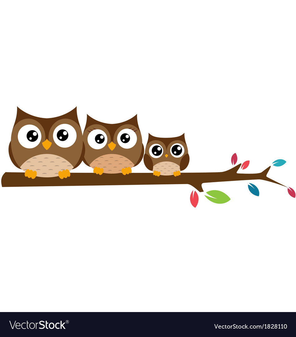 Owls family sat on a tree branch vector | Price: 1 Credit (USD $1)