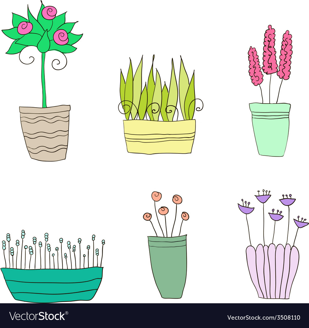 Pot plants with flowers and leaves vector | Price: 1 Credit (USD $1)