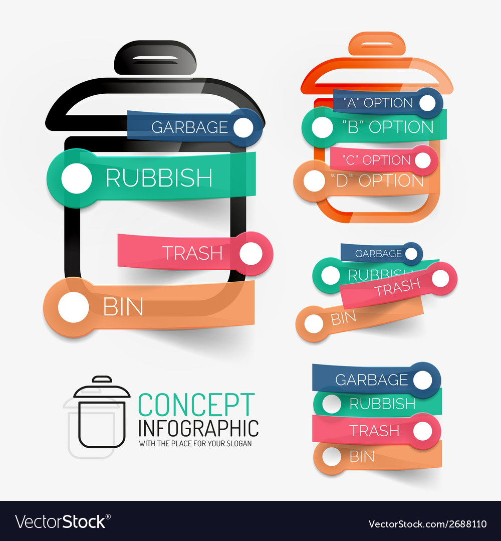 Rubbish bin infographic with stickers vector | Price: 1 Credit (USD $1)