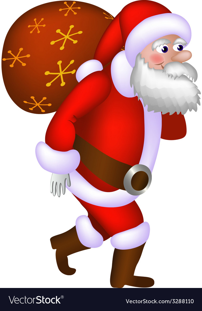 Santa claus carrying a bag vector | Price: 1 Credit (USD $1)