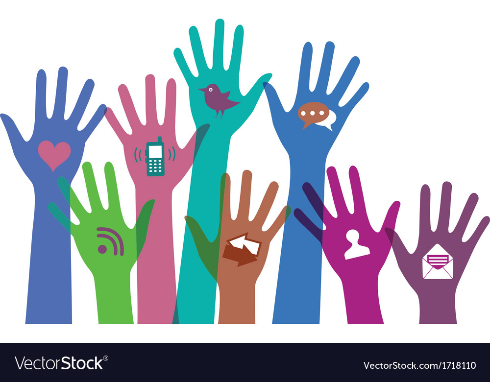 Set of hands with communication icons vector | Price: 1 Credit (USD $1)