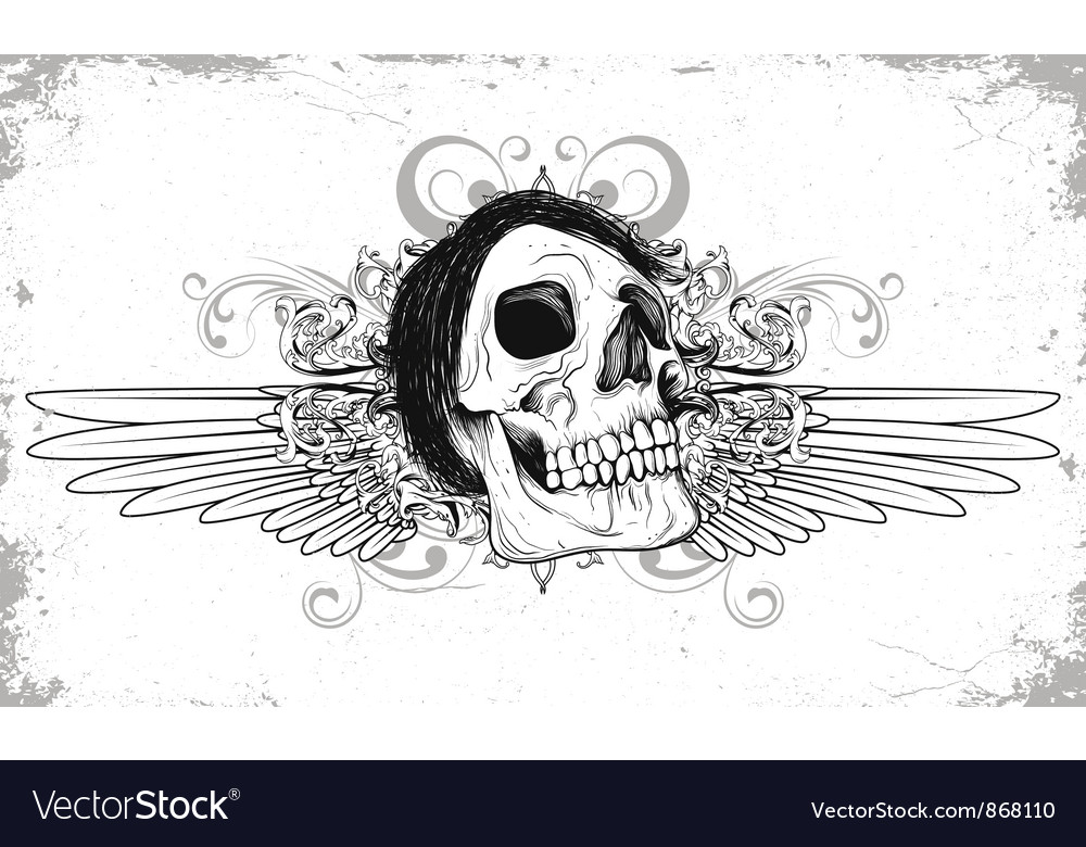 Skull with grunge and wings vector | Price: 1 Credit (USD $1)