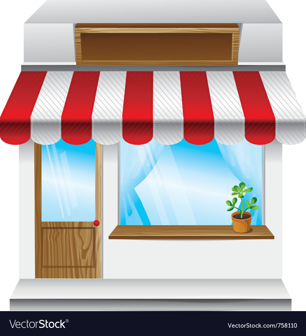 Store with stripe awning vector | Price: 1 Credit (USD $1)