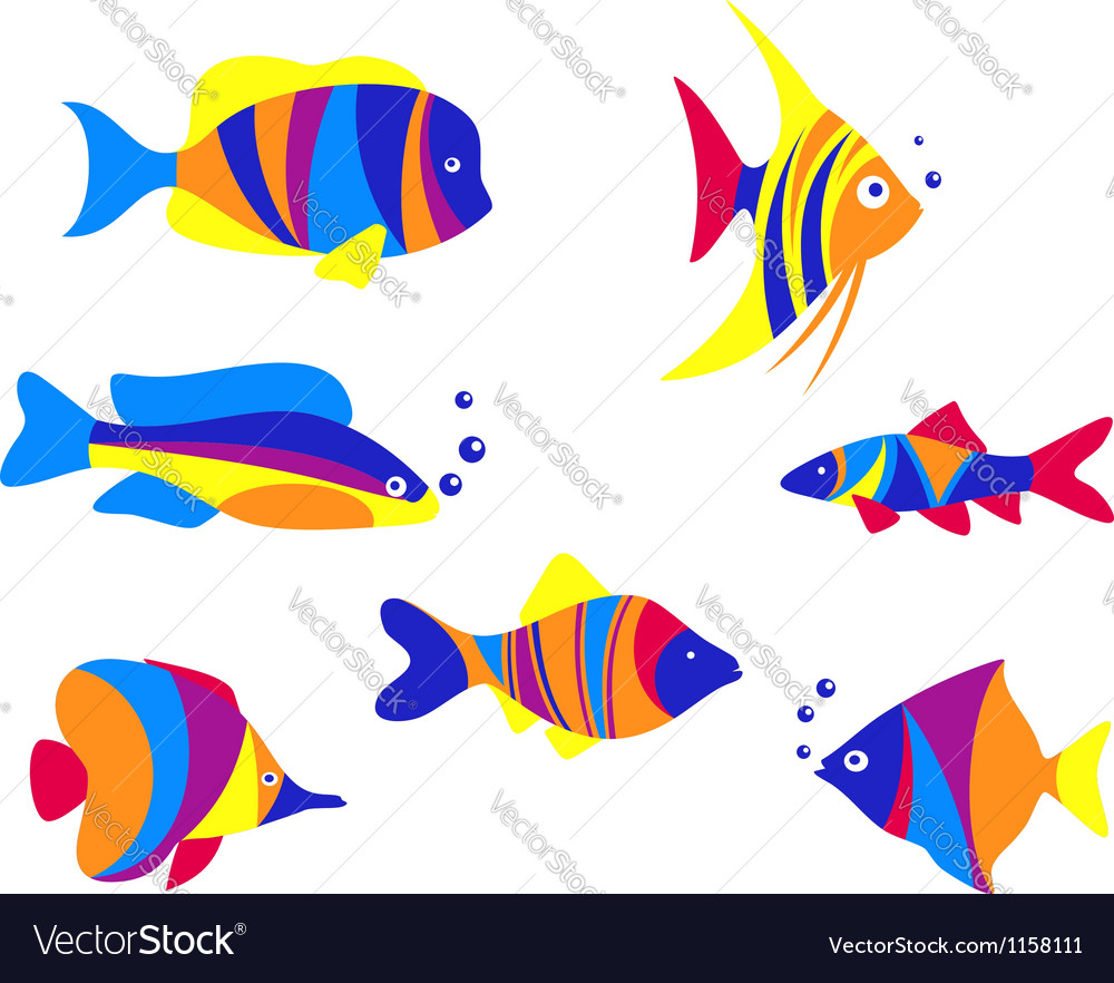 Abstract colorful aquarium fishes vector | Price: 1 Credit (USD $1)