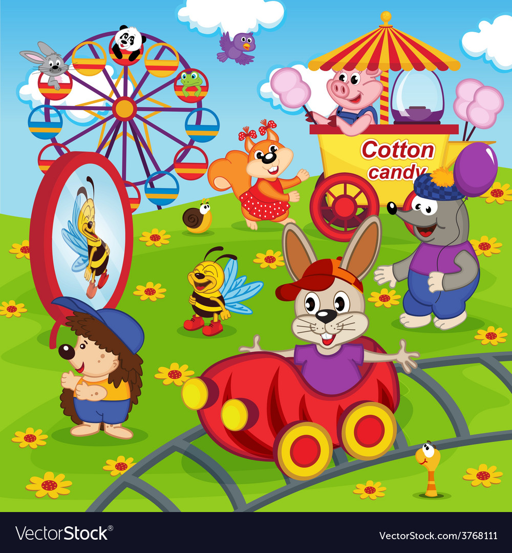 Animals in amusement park vector | Price: 3 Credit (USD $3)