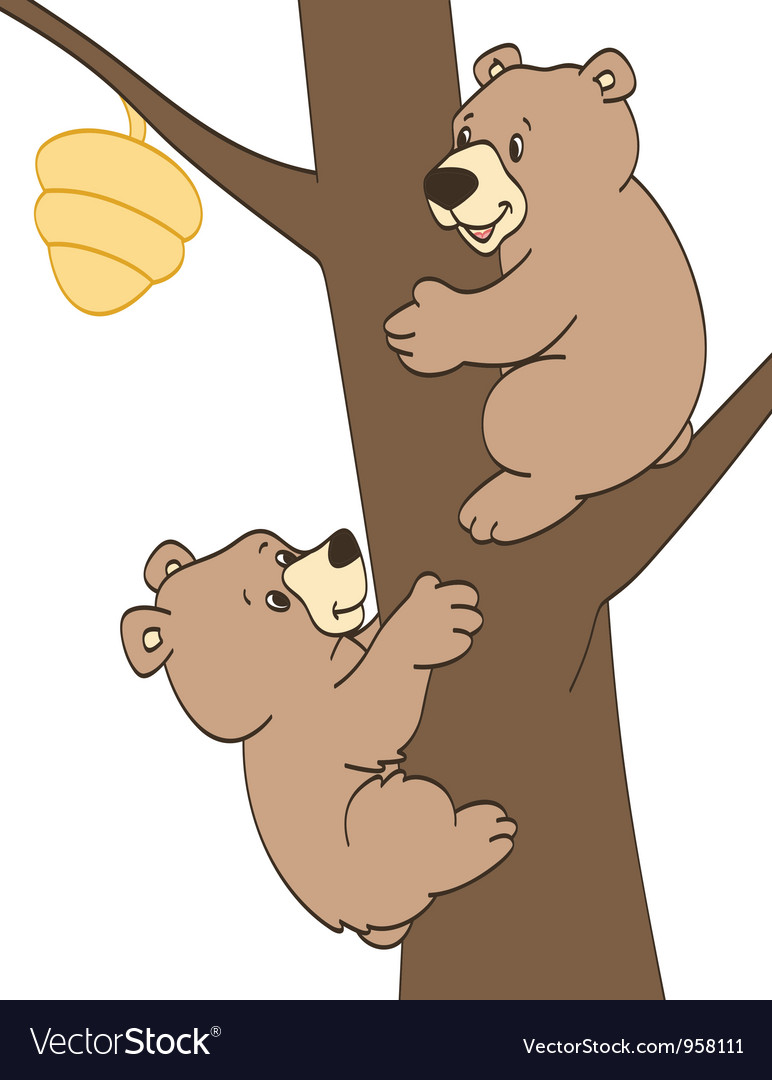 Bear cubs trying to get honey vector | Price: 1 Credit (USD $1)