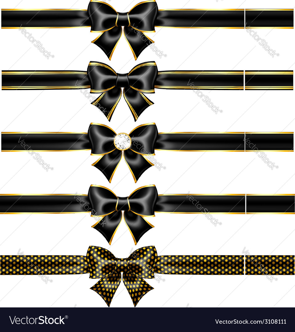 Black bow with gold and ribbons vector