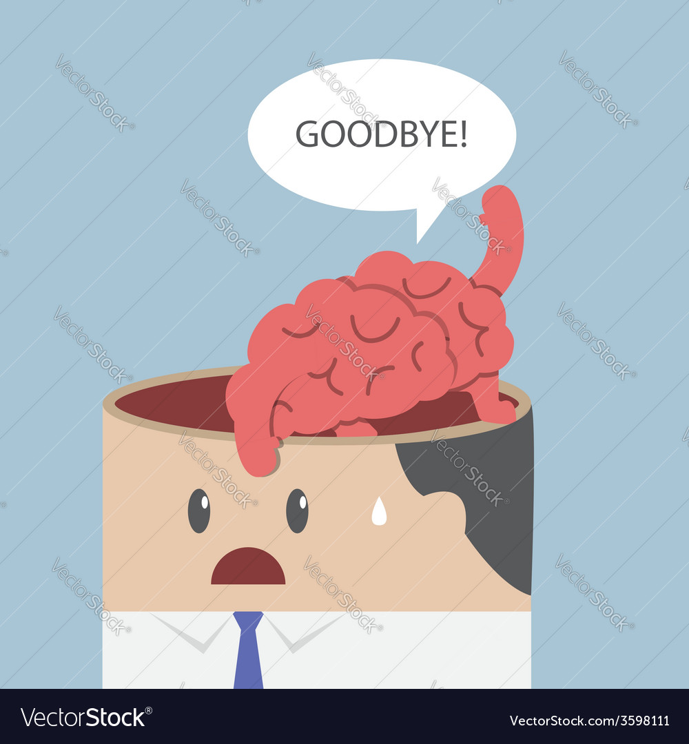 Brain say goodbye and go out of businessman head vector | Price: 1 Credit (USD $1)