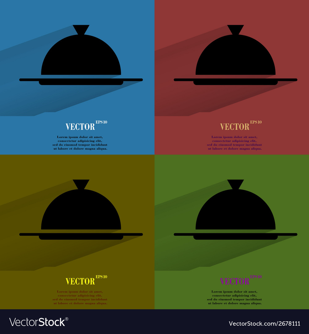 Color set restaurant cloche flat modern web button vector | Price: 1 Credit (USD $1)