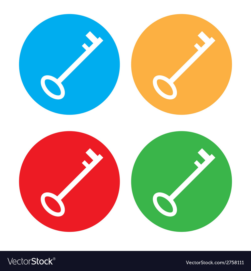 Colored key icon set vector | Price: 1 Credit (USD $1)