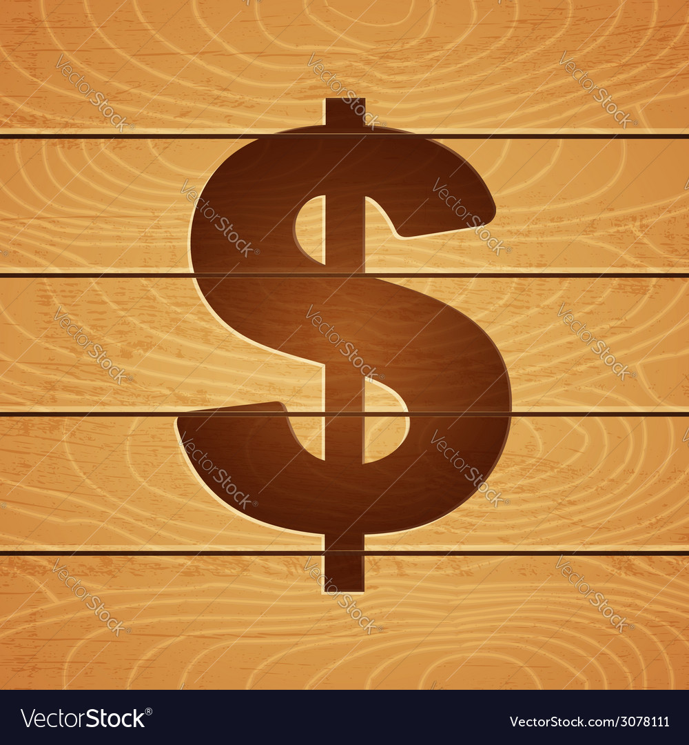 Dollar on wooden background vector | Price: 1 Credit (USD $1)