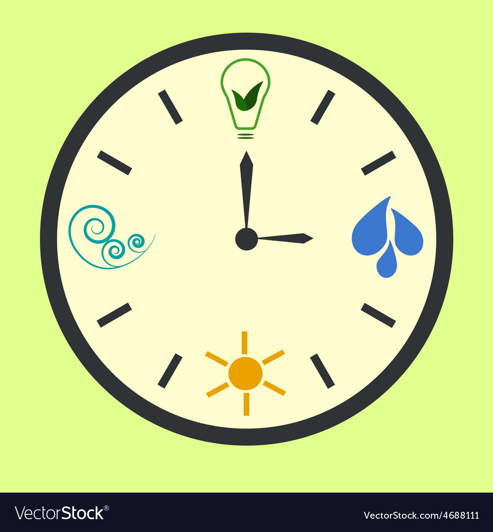 Eco energy clock vector   Price: 1 Credit (USD $1)