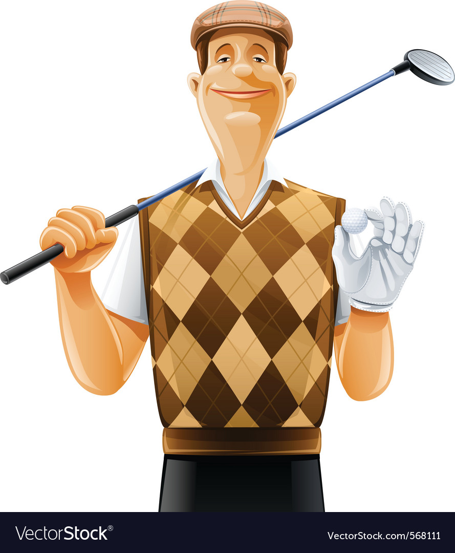 Golf player with club and ball vector | Price: 3 Credit (USD $3)