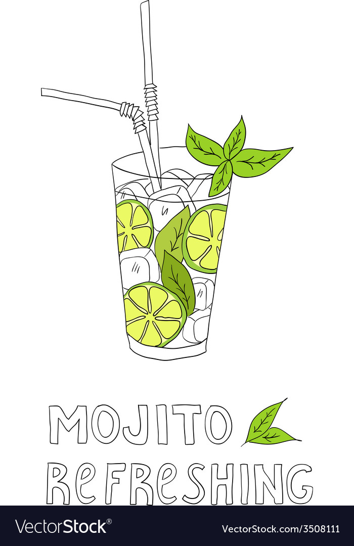 Hand drawn of cocktail mojito vector | Price: 1 Credit (USD $1)