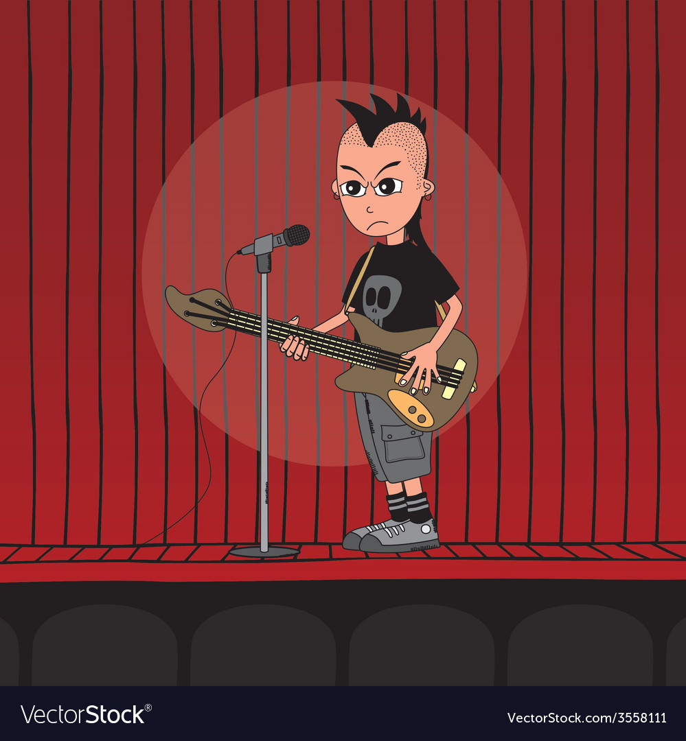 Live band boy cartoon character vector | Price: 1 Credit (USD $1)