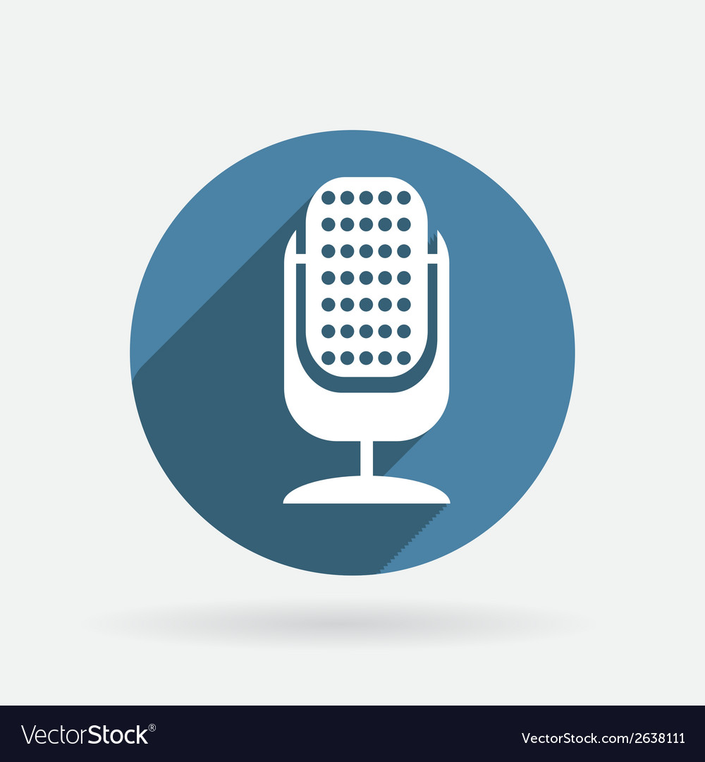 Microphone circle blue icon with shadow vector | Price: 1 Credit (USD $1)