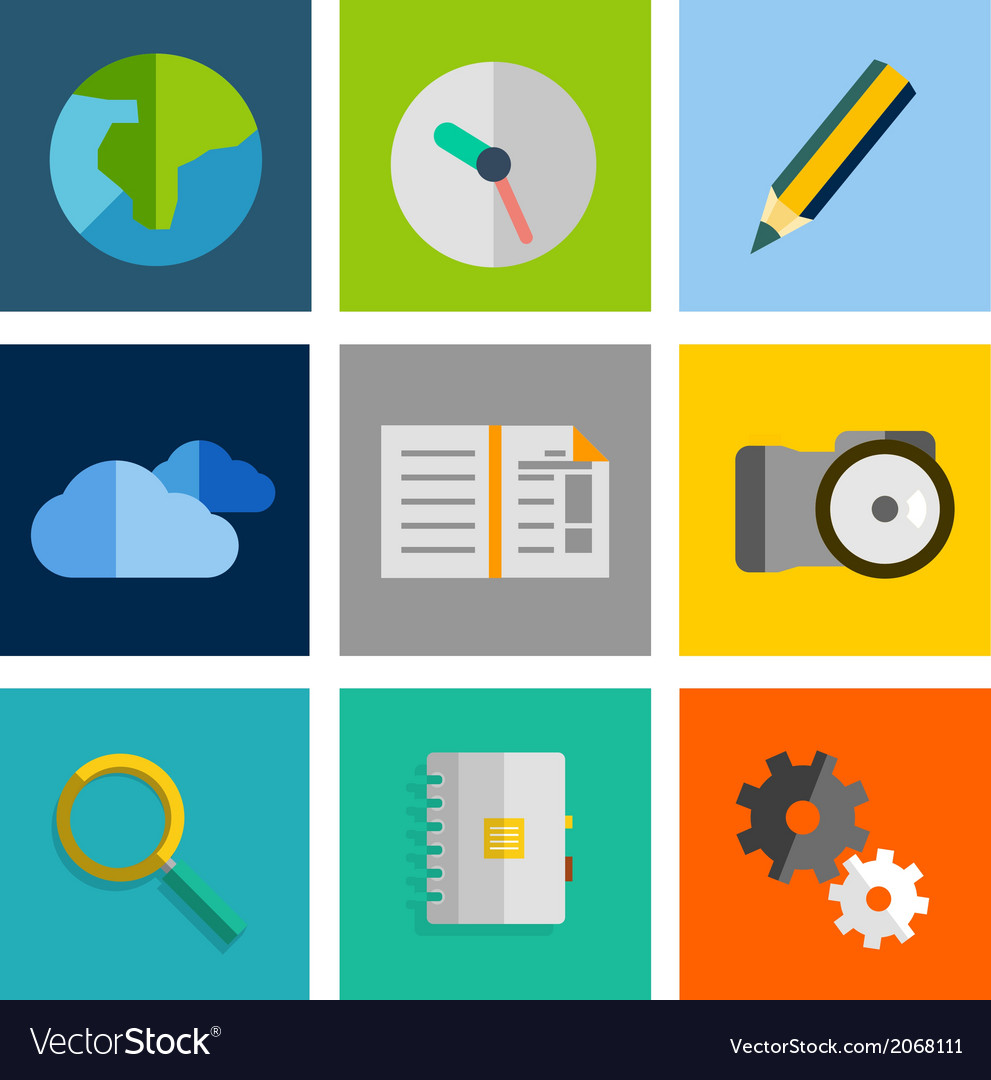 Set of flat universal icons vector   Price: 1 Credit (USD $1)