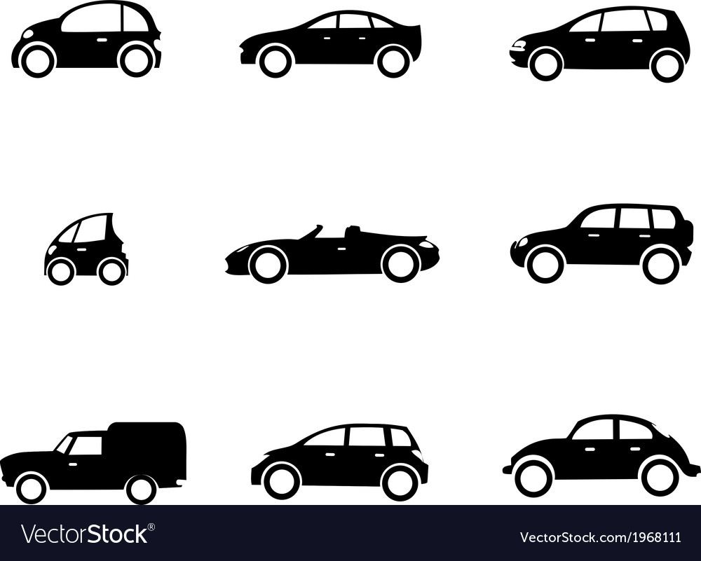 Six car shapes vector | Price: 1 Credit (USD $1)