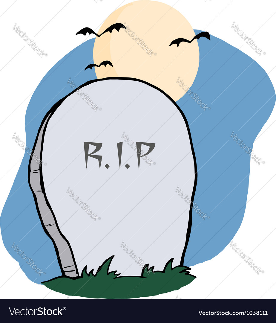 Stone rip headstone in a cemetery vector | Price: 1 Credit (USD $1)