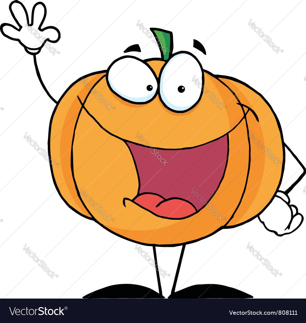 Waving halloween pumpkin character vector   Price: 1 Credit (USD $1)