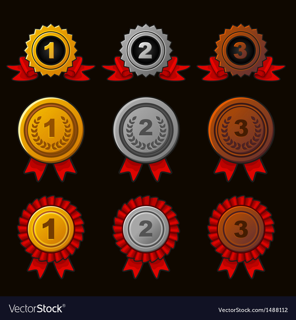 Achievement icons set vector   Price: 1 Credit (USD $1)