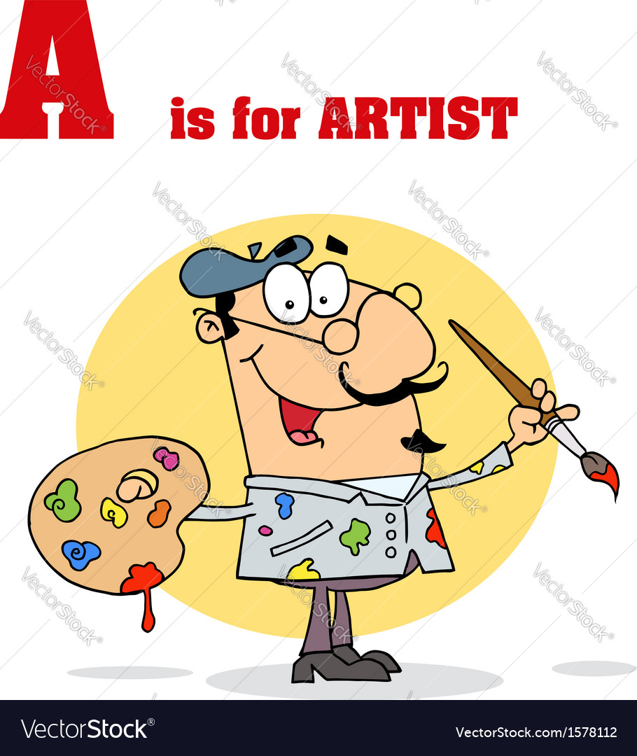Cartoon artist with letter vector   Price: 1 Credit (USD $1)