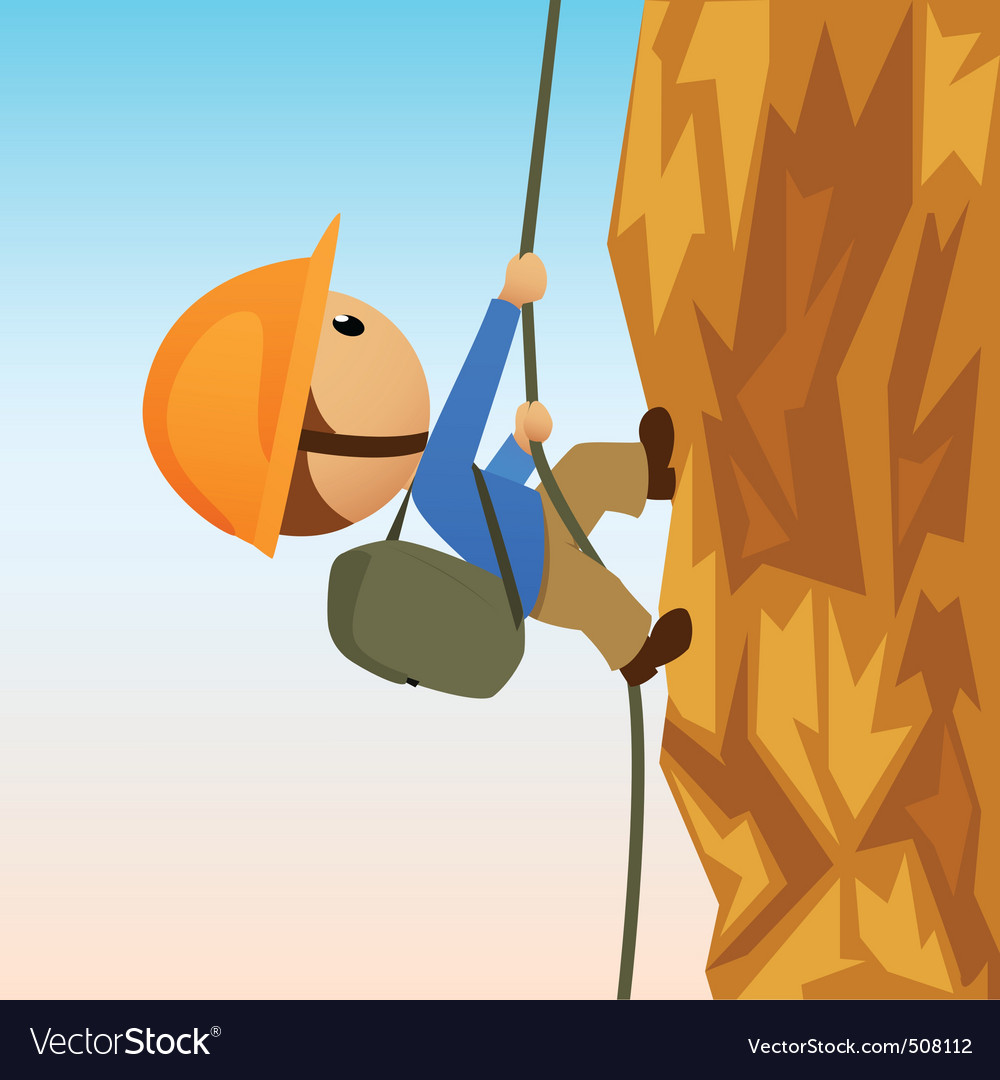 Cartoon rock climber on vertical cliffside vector | Price: 1 Credit (USD $1)