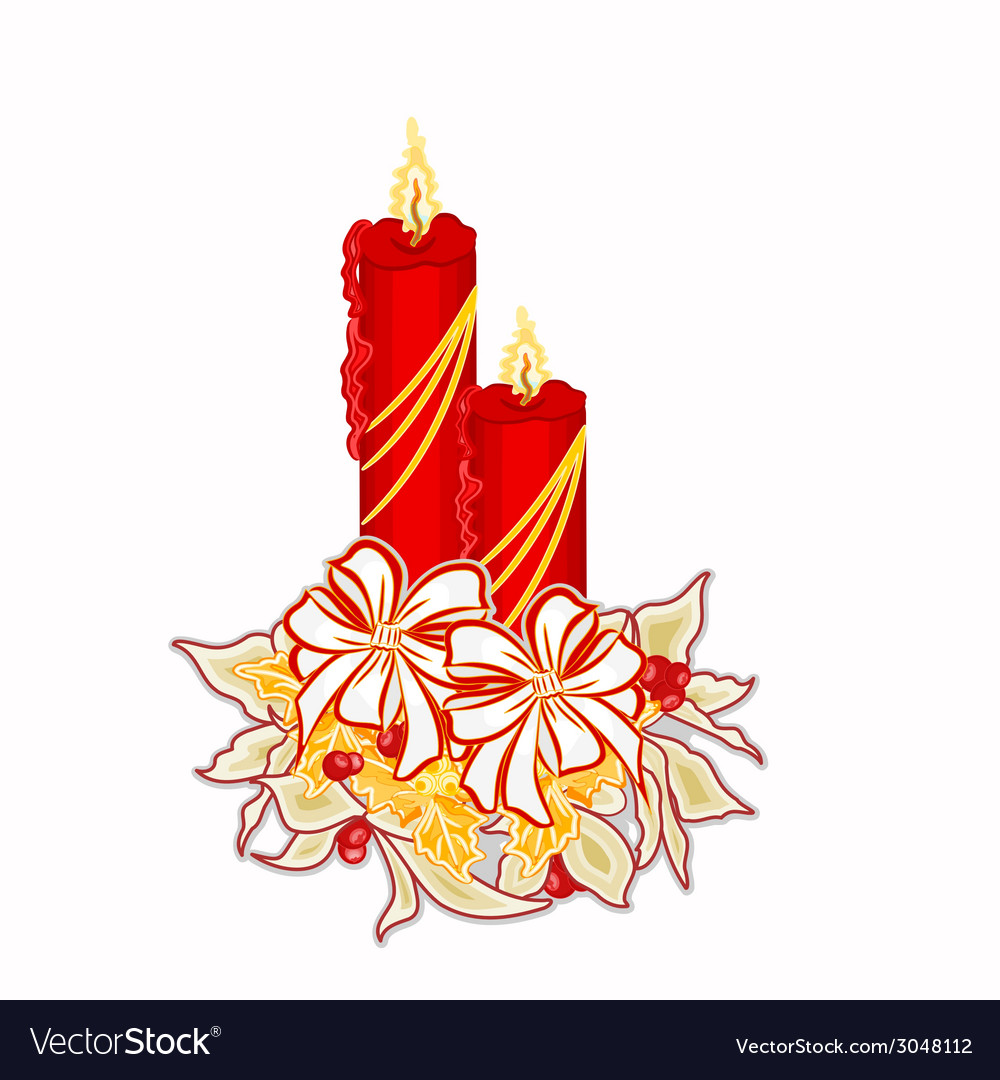 Christmas decoration candle with white poinsettia vector | Price: 1 Credit (USD $1)