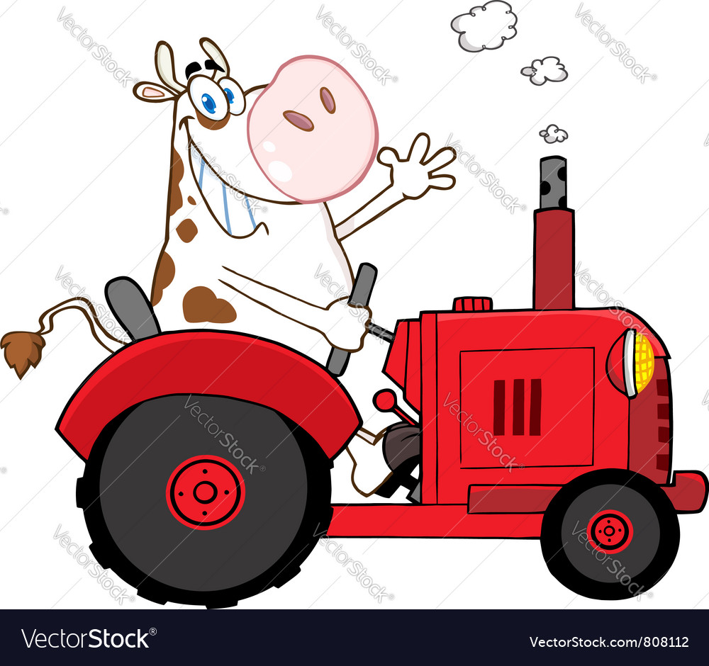 Cow farmer waving and driving a red tractor vector | Price: 1 Credit (USD $1)