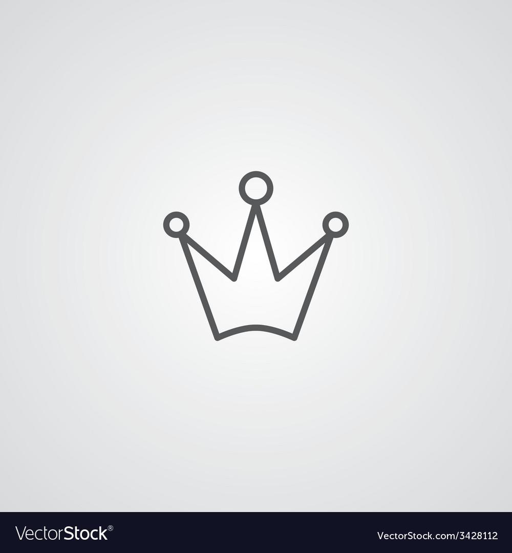 Crown outline symbol dark on white background logo vector | Price: 1 Credit (USD $1)