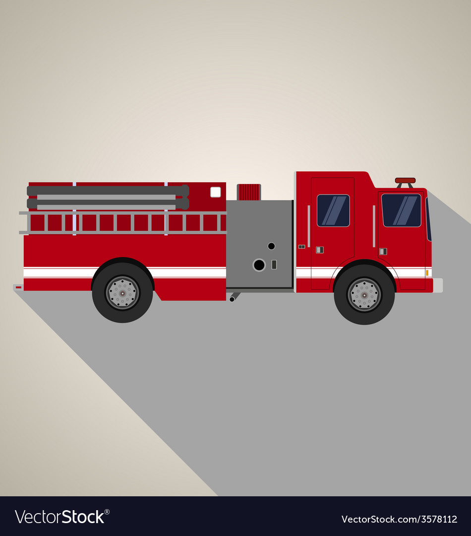 Fire truck side view vector | Price: 1 Credit (USD $1)