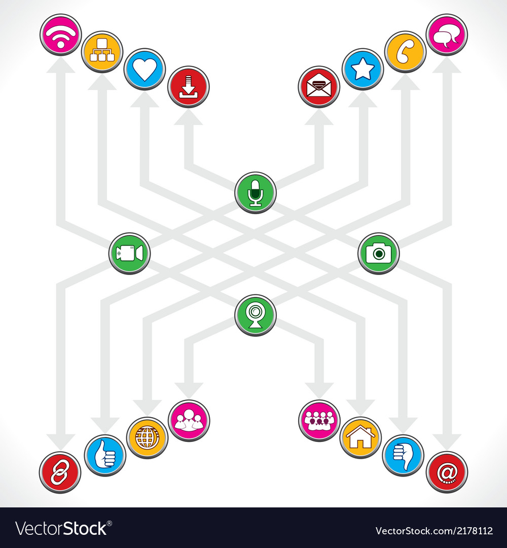 Social network icons mage a group vector | Price: 1 Credit (USD $1)
