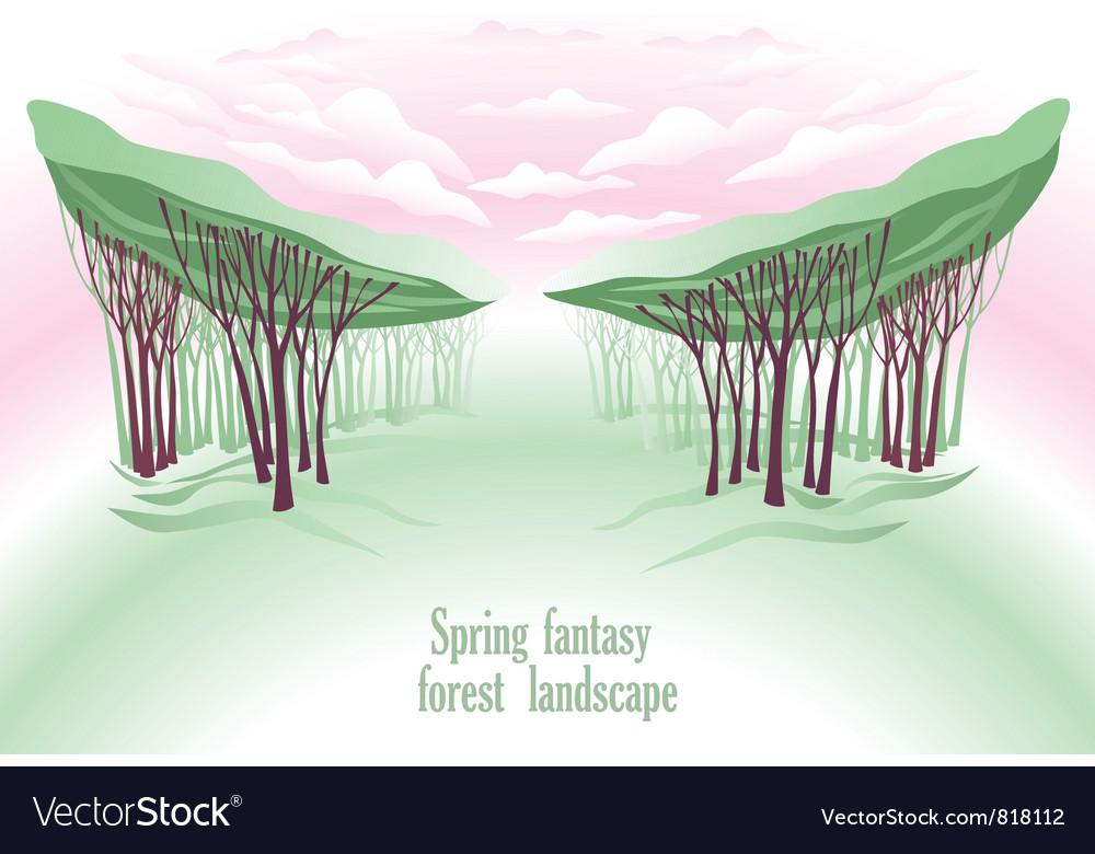 Spring fntasy forest landscape vector   Price: 1 Credit (USD $1)