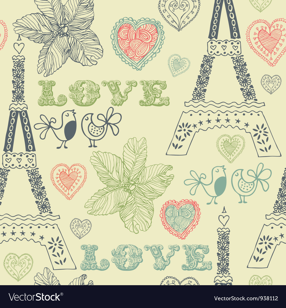 Vintage love paris pattern vector | Price: 1 Credit (USD $1)