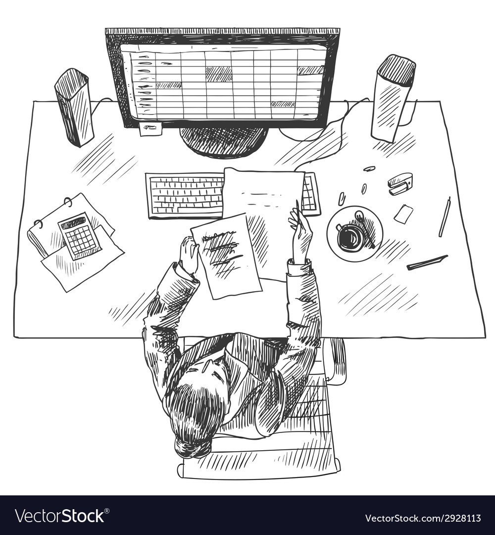 Accountant work place vector | Price: 1 Credit (USD $1)