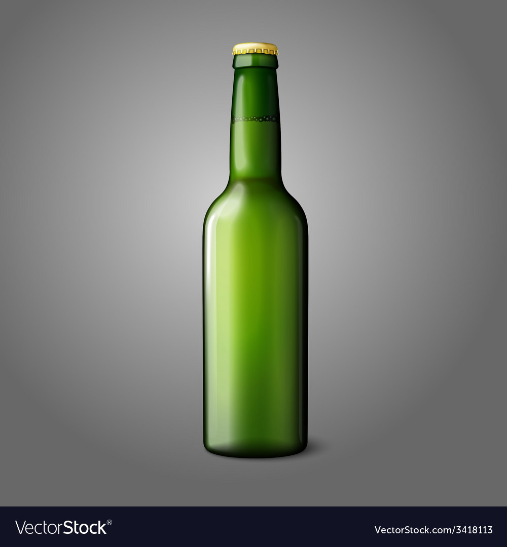 Blank green realistic beer bottle isolated on grey vector | Price: 1 Credit (USD $1)
