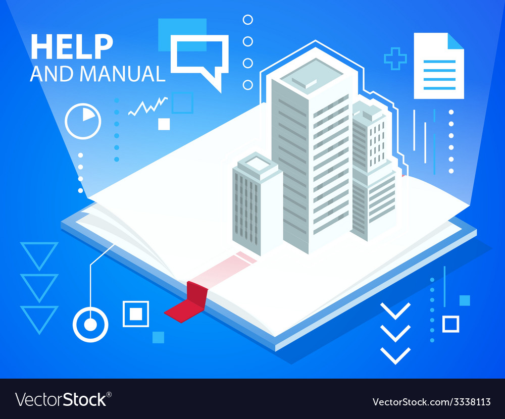 Bright manual book and buildings on blue bac vector | Price: 3 Credit (USD $3)