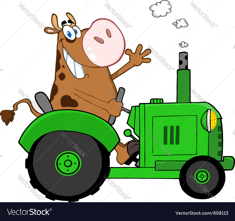 Cow farmer waving and driving a green tractor vector | Price: 1 Credit (USD $1)