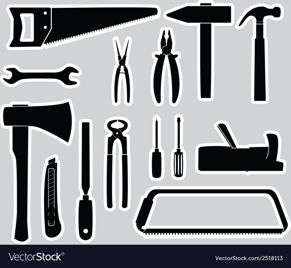 Hand tools stickers set eps10 vector | Price: 1 Credit (USD $1)