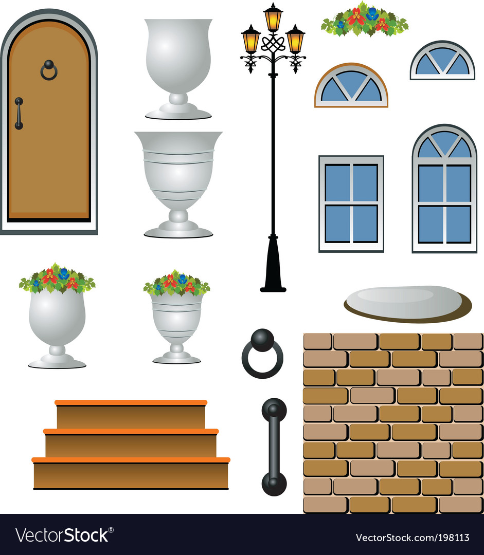 House exterior icons vector | Price: 1 Credit (USD $1)