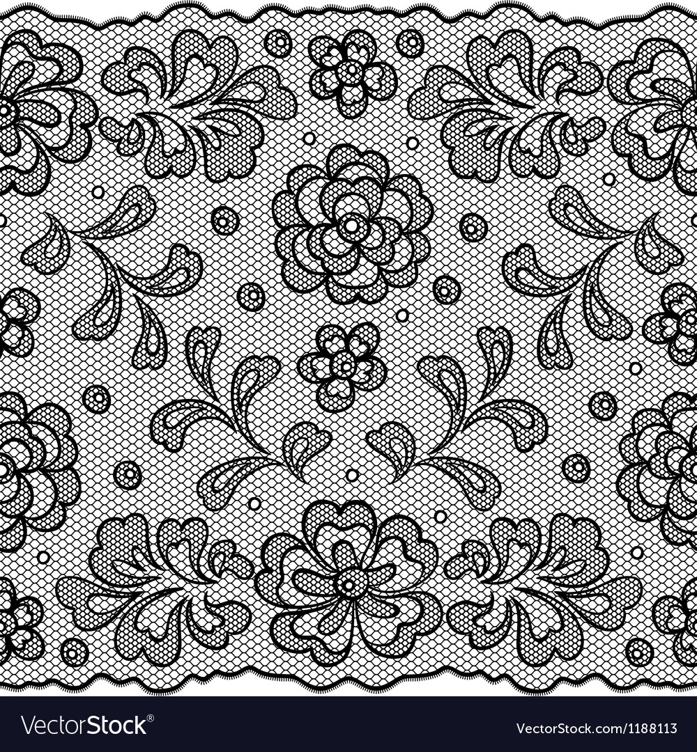 Lace fabric seamless border with abstact flowers vector | Price: 1 Credit (USD $1)