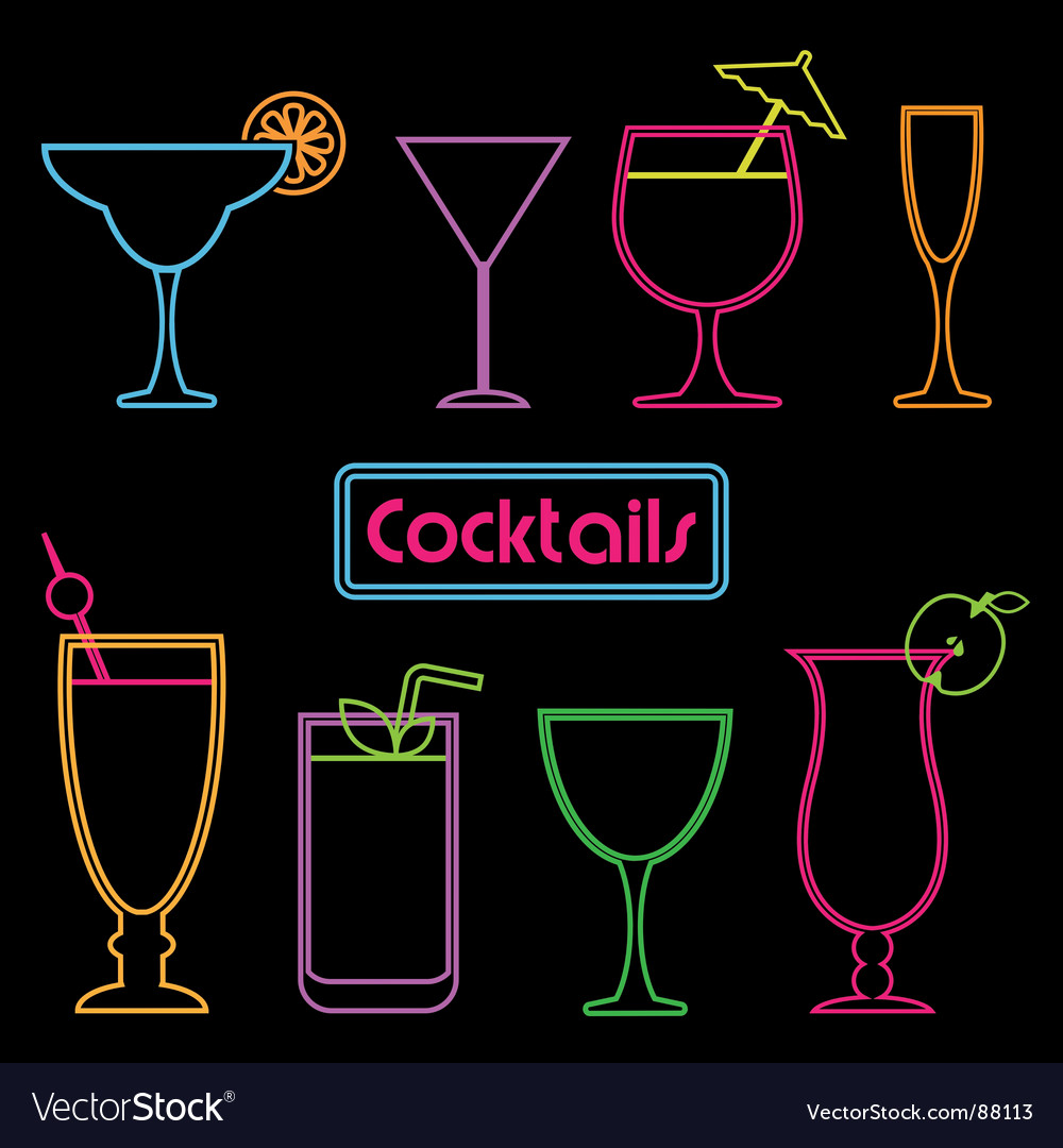 Neon cocktail signs vector | Price: 1 Credit (USD $1)