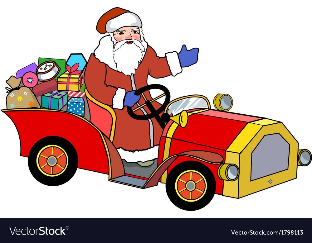 Santa claus and retro car vector | Price: 1 Credit (USD $1)