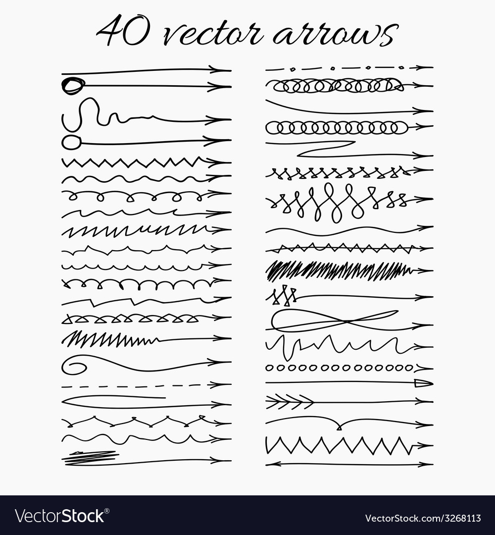 Set of 40 hand-drawn arrows  easy paste to any vector | Price: 1 Credit (USD $1)